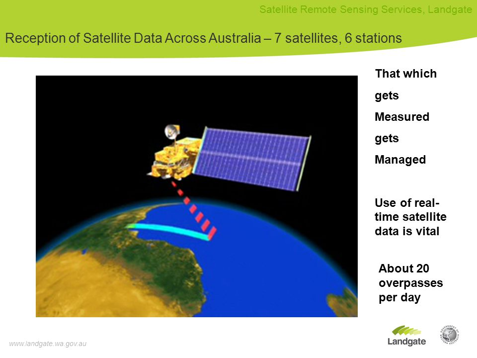 www.landgate.wa.gov.au Satellite Remote Sensing Services, Landgate Reception of Satellite Data Across Australia – 7 satellites, 6 stations That which gets Measured gets Managed Use of real- time satellite data is vital About 20 overpasses per day