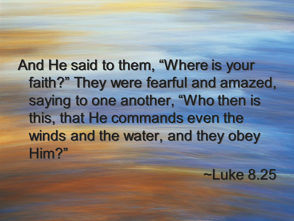 "And He said to them, ""Where is your faith?"" They were fearful and amazed, saying to one another, ""Who then is this, that He commands even the winds an"