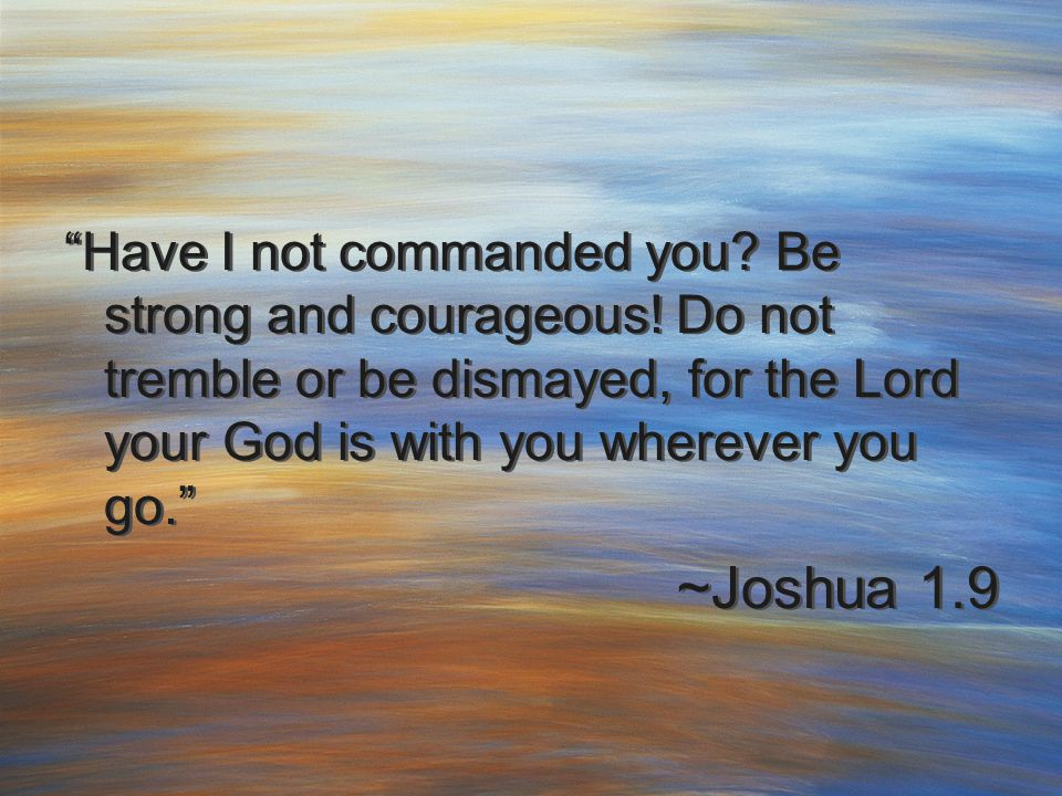 """Have I not commanded you? Be strong and courageous! Do not tremble or be dismayed, for the Lord your God is with you wherever you go."" ~Joshua 1.9 ""H"