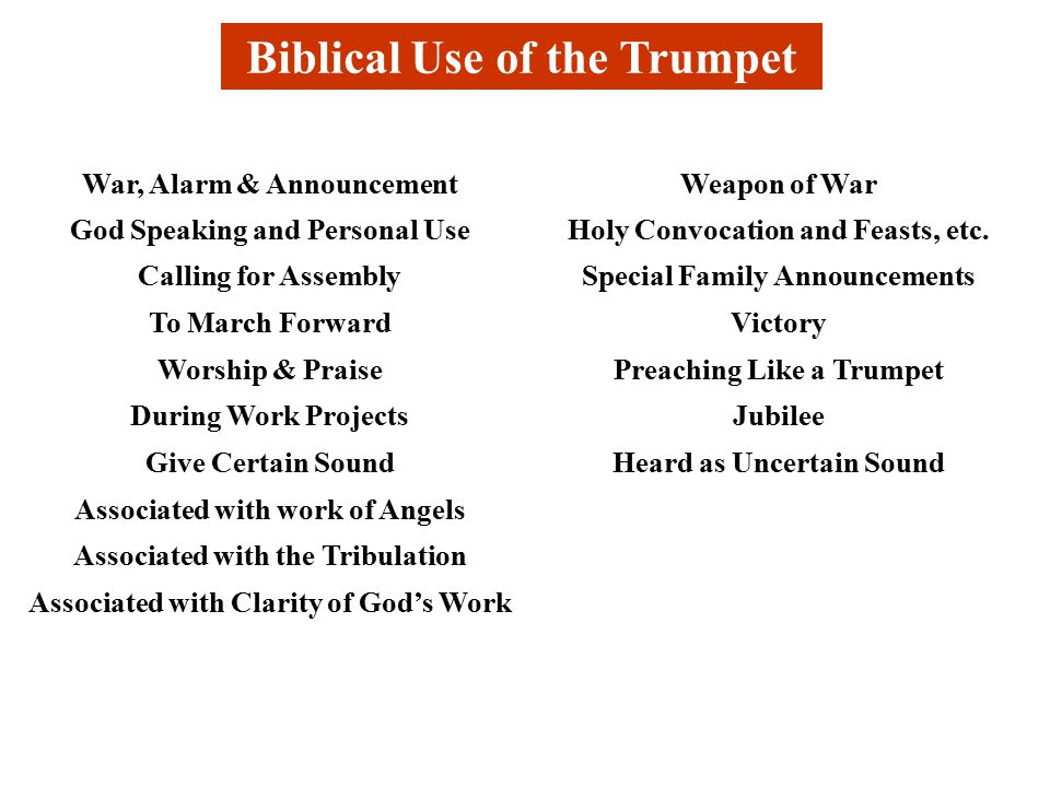 Biblical Use of the Trumpet War, Alarm & AnnouncementWeapon of War God Speaking and Personal UseHoly Convocation and Feasts, etc.