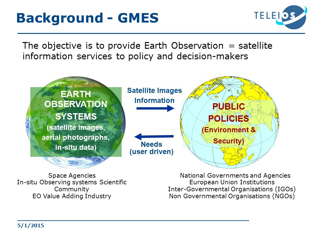 EARTH OBSERVATION SYSTEMS (satellite images, aerial photographs, in-situ data) PUBLIC POLICIES (Environment & Security) Satellite Images Information Needs (user driven) Space Agencies In-situ Observing systems Scientific Community EO Value Adding Industry National Governments and Agencies European Union Institutions Inter-Governmental Organisations (IGOs) Non Governmental Organisations (NGOs) The objective is to provide Earth Observation = satellite information services to policy and decision-makers GMES: Global Monitoring for Environment and Security Background - GMES 5/1/2015