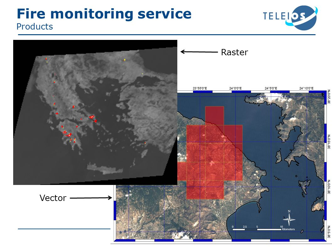 Fire monitoring service Products Raster Vector