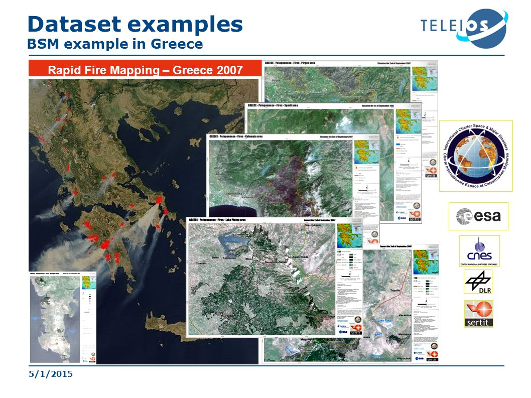 Rapid Fire Mapping – Greece 2007 5/1/2015 Dataset examples BSM example in Greece