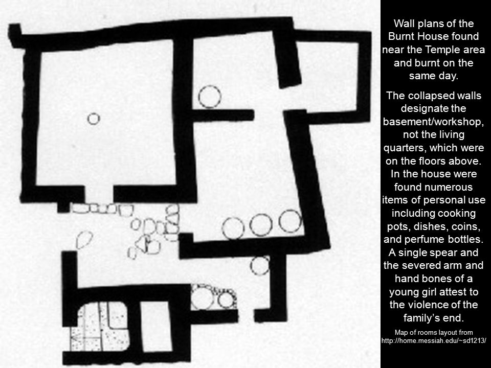 Wall plans of the Burnt House found near the Temple area and burnt on the same day.