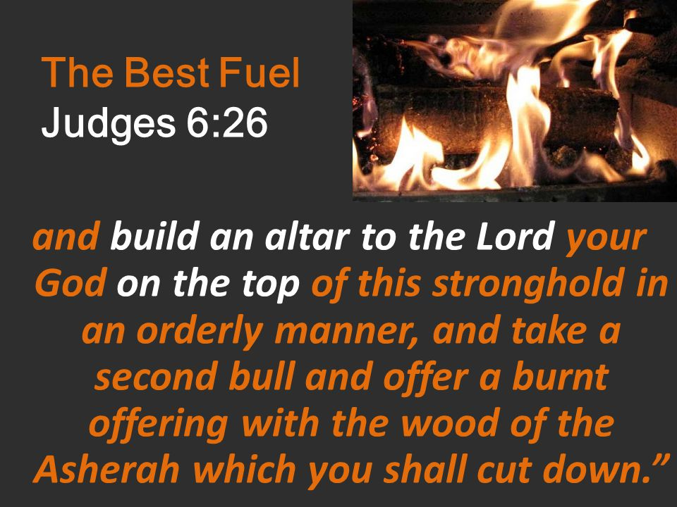 The Best Fuel Judges 6:26 and build an altar to the Lord your God on the top of this stronghold in an orderly manner, and take a second bull and offer a burnt offering with the wood of the Asherah which you shall cut down.