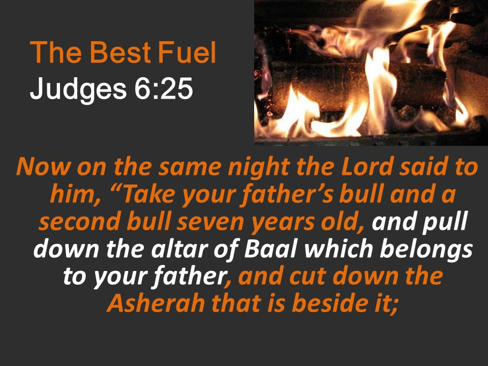 The Best Fuel Judges 6:25 Now on the same night the Lord said to him, Take your father's bull and a second bull seven years old, and pull down the altar of Baal which belongs to your father, and cut down the Asherah that is beside it;