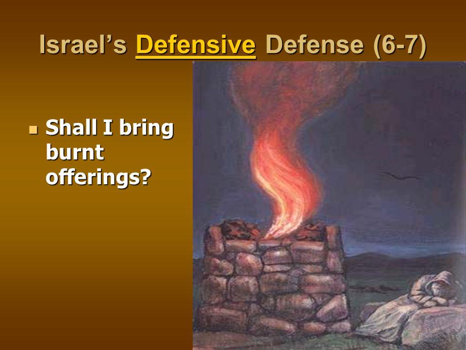 Israel's Defensive Defense (6-7) Shall I bring burnt offerings? Shall I bring burnt offerings?