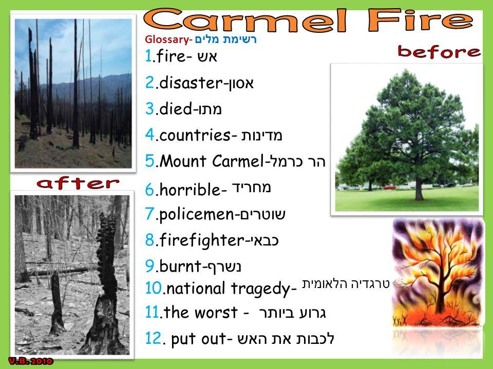 Glossary- רשימת מלים 1.fire- אש 2.disaster- אסון 3.died- מתו 4.countries- מדינות 5.Mount Carmel- הר כרמל 6.horrible- מחריד 7.policemen- שוטרים 8.firefighter- כבאי 9.burnt- נשרף 10.national tragedy- טרגדיה הלאומית 11.the worst - גרוע ביותר 12.