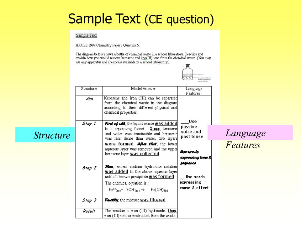 Sample Text (CE question) Language Features Structure