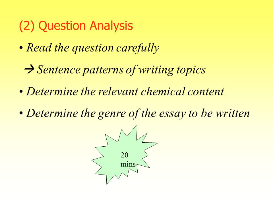 strategies in implementing chemistry writing tasks ppt   question carefully  sentence patterns of writing topics determine the relevant chemical content determine the genre of the essay to be written 20 mins