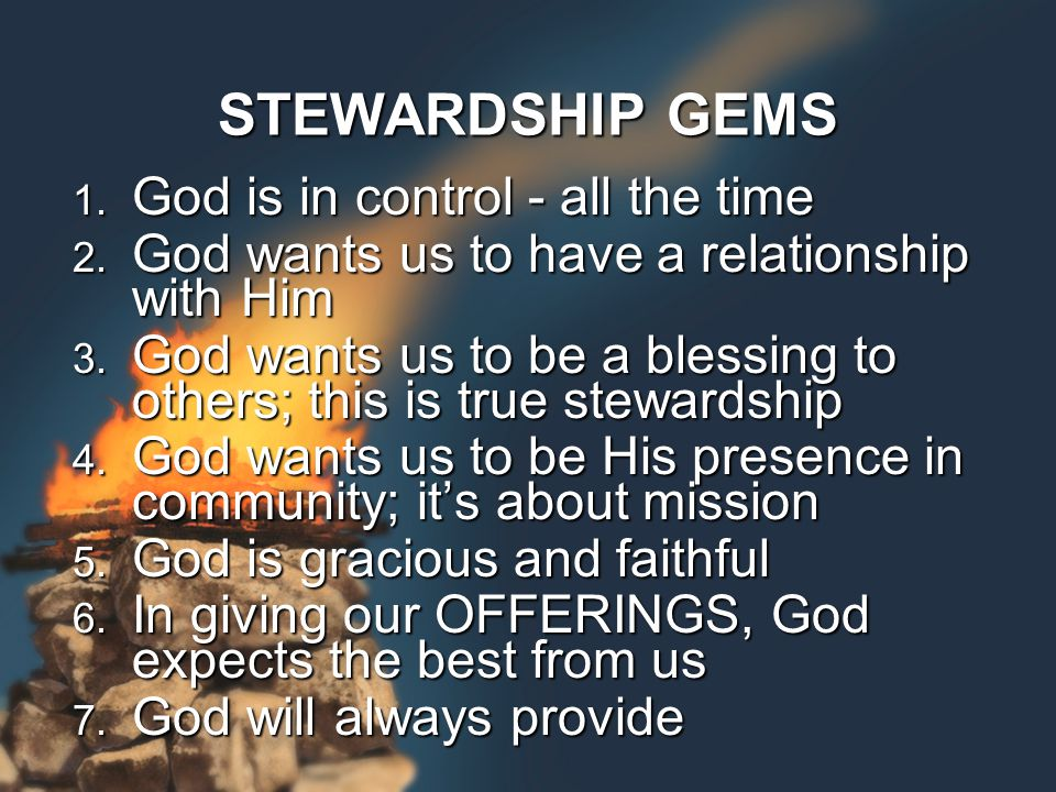 1. God is in control - all the time 2. God wants us to have a relationship with Him 3.