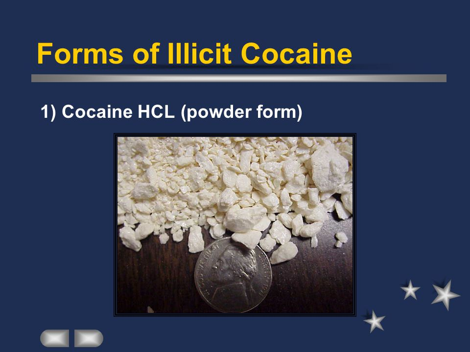 Forms of Illicit Cocaine 1) Cocaine HCL (powder form)