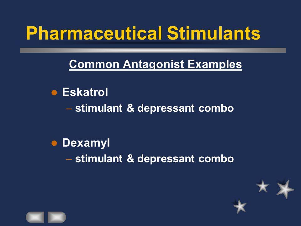 Common Antagonist Examples Eskatrol –stimulant & depressant combo Dexamyl –stimulant & depressant combo Pharmaceutical Stimulants