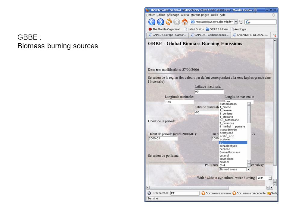 GBBE : Biomass burning sources