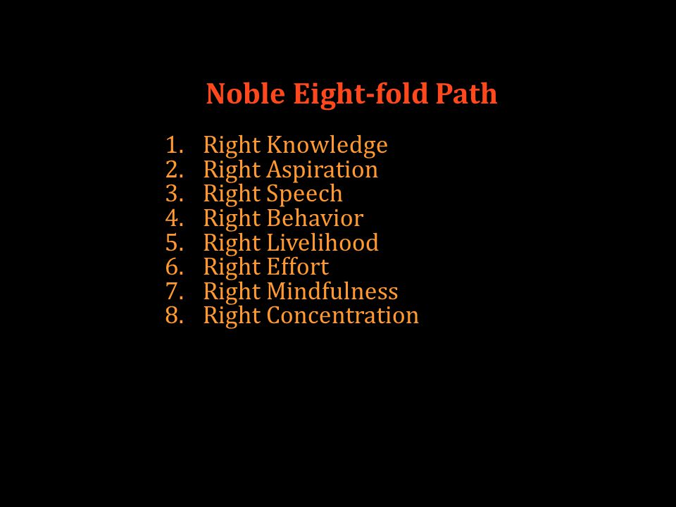 Noble Eight-fold Path 1.Right Knowledge 2.Right Aspiration 3.Right Speech 4.Right Behavior 5.Right Livelihood 6.Right Effort 7.Right Mindfulness 8.Right Concentration