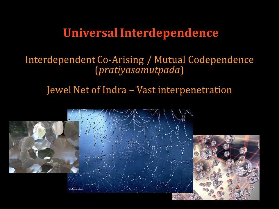 Universal Interdependence Interdependent Co-Arising / Mutual Codependence (pratiyasamutpada) Jewel Net of Indra – Vast interpenetration