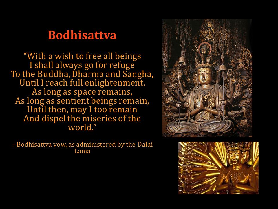 Bodhisattva With a wish to free all beings I shall always go for refuge To the Buddha, Dharma and Sangha, Until I reach full enlightenment.