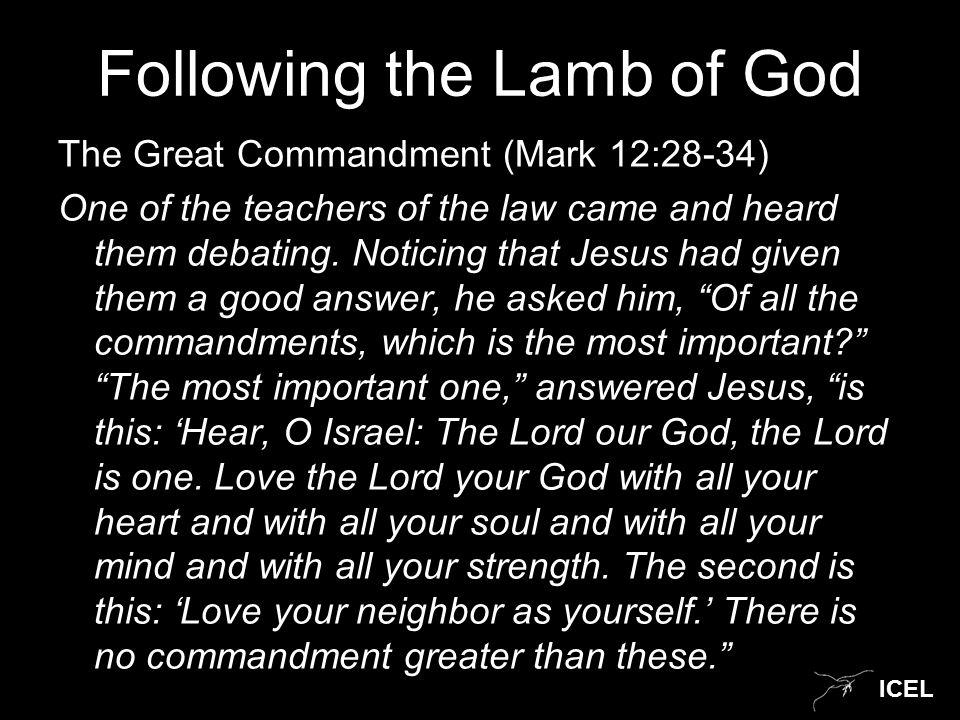 ICEL Continuing Mark 12: 28-34 Well said, teacher, the man replied.