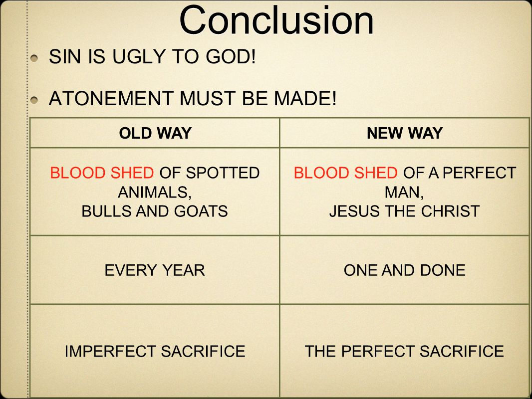 Conclusion SIN IS UGLY TO GOD.ATONEMENT MUST BE MADE.