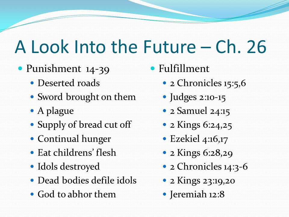 Punishment 14-39 Deserted roads Sword brought on them A plague Supply of bread cut off Continual hunger Eat childrens' flesh Idols destroyed Dead bodi