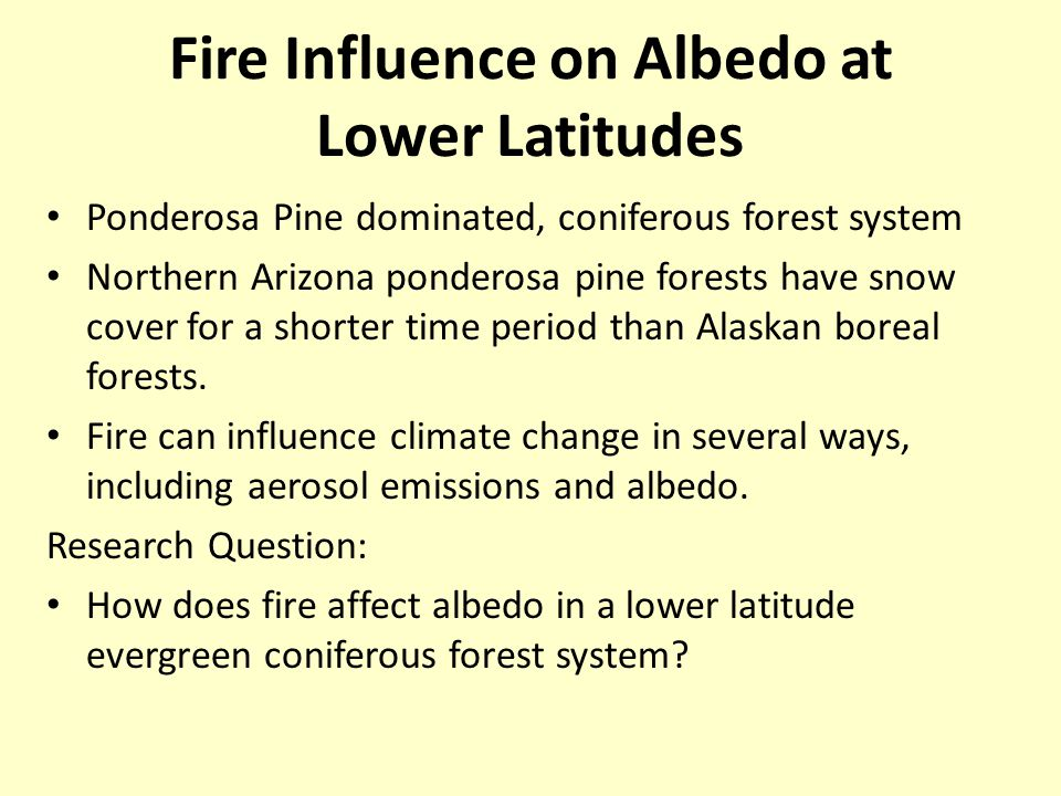 Fire Influence on Albedo at Lower Latitudes Ponderosa Pine dominated, coniferous forest system Northern Arizona ponderosa pine forests have snow cover for a shorter time period than Alaskan boreal forests.