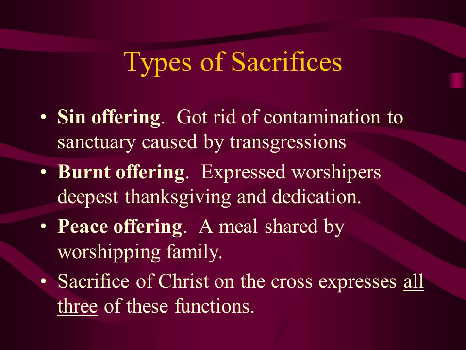 Types of Sacrifices Sin offering.