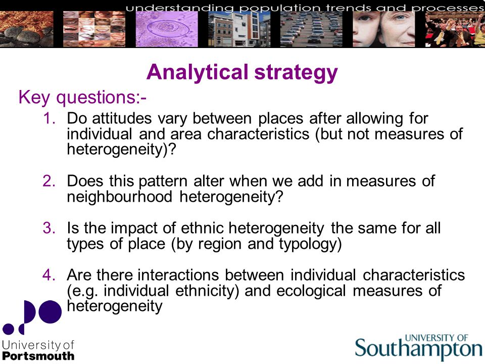 Analytical strategy Key questions:- 1.Do attitudes vary between places after allowing for individual and area characteristics (but not measures of heterogeneity).