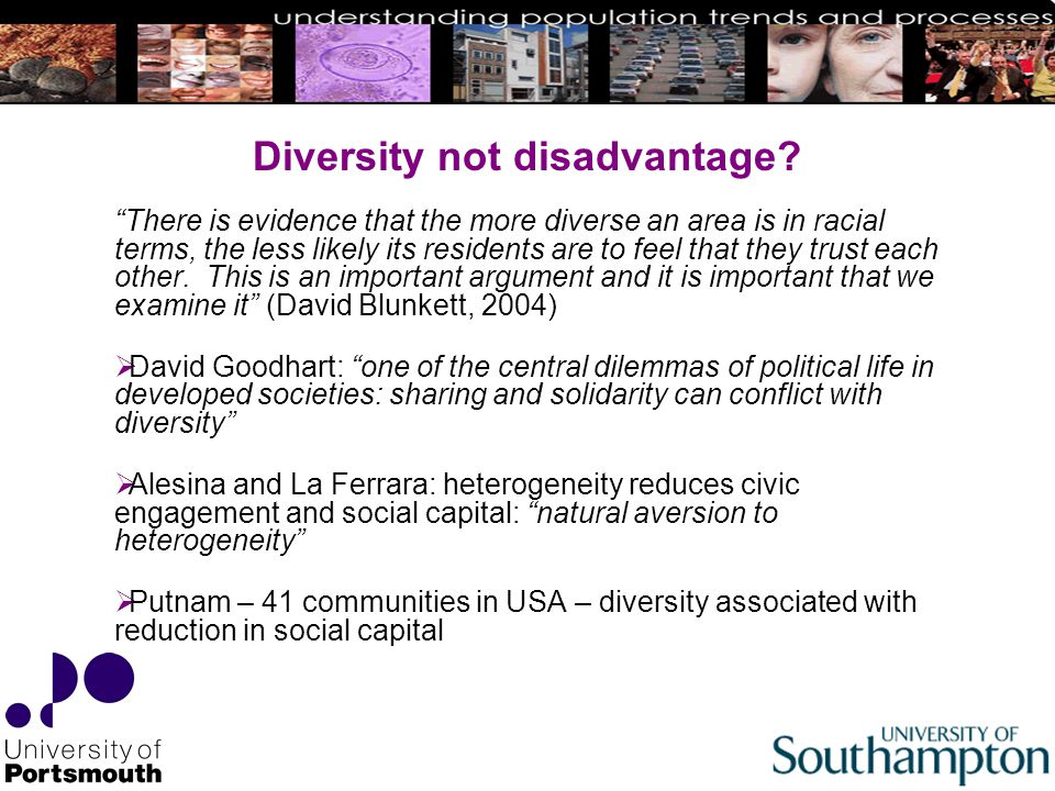 Diversity not disadvantage.