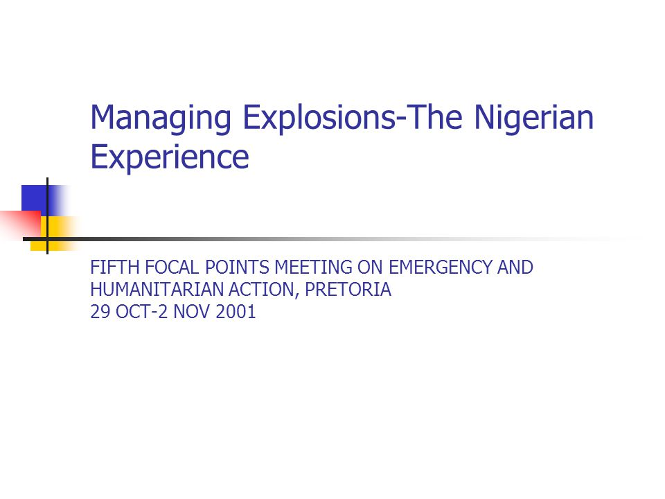 Response (contd.) Different levels of intervention Strategic (HMH/Director – Special Projects, UNICEF and WHO Reps, GMD-NNPC, HCH-SMOH) Tactical (EPR focal person, UNICEF and WHO field officers, NNPC Medical Officers, Red Cross EPR person and Burn surgeon) Operational (burn specialists, general duty doctors, epidemiologists, anaesthetic and theatre nurses, accidents and emergency nurses, environmental health officers, psychologists, Red Cross volunteers, Local NGOs, Community and other local volunteers) Response teams available (case management group, case search/mass mobilization group, surveillance/missing persons survey group, pathology/disposal of dead bodies group, logistics/coordination group) Designated teaching and specialist hospitals for case management Coordinated response