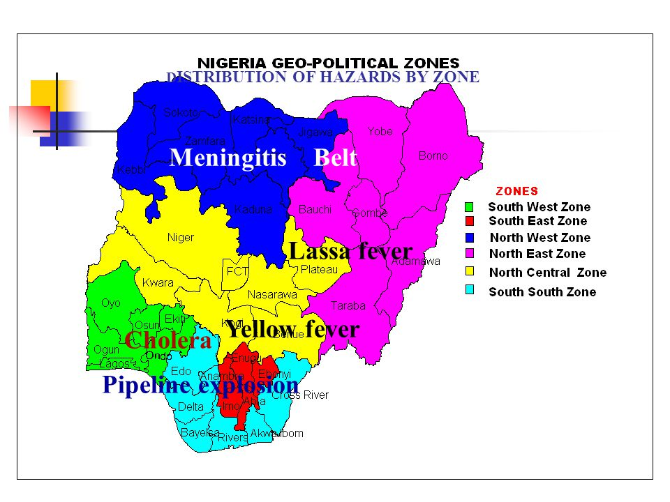 D ISTRIBUTION OF HAZARDS BY ZONE Meningitis Belt Cholera Yellow fever Lassa fever Pipeline explosion