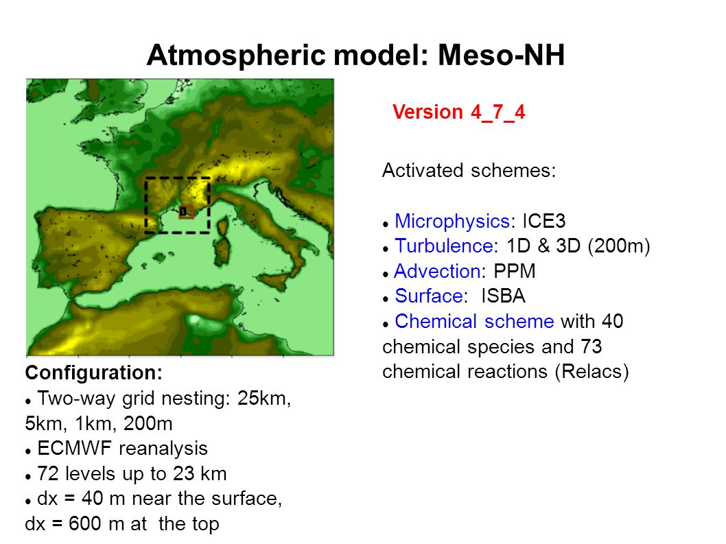 Atmospheric model: Meso-NH Configuration: Two-way grid nesting: 25km, 5km, 1km, 200m ECMWF reanalysis 72 levels up to 23 km dx = 40 m near the surface, dx = 600 m at the top Version 4_7_4 Activated schemes: Microphysics: ICE3 Turbulence: 1D & 3D (200m)‏ Advection: PPM Surface: ISBA Chemical scheme with 40 chemical species and 73 chemical reactions (Relacs)‏