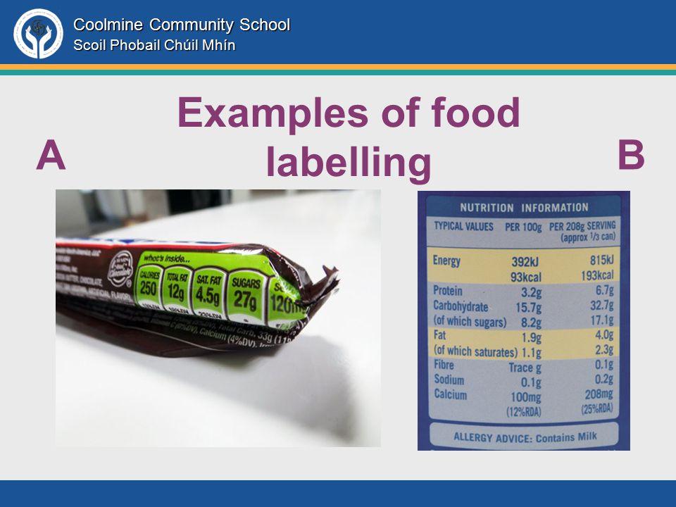 Coolmine Community School Scoil Phobail Chúil Mhín AB Examples of food labelling