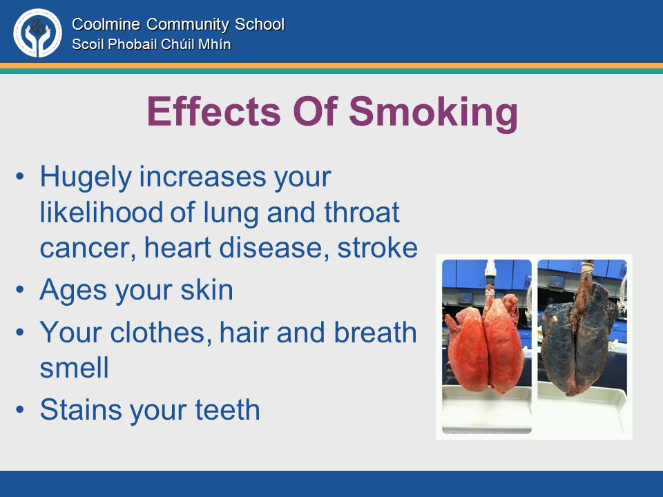 Coolmine Community School Scoil Phobail Chúil Mhín Effects Of Smoking Hugely increases your likelihood of lung and throat cancer, heart disease, stroke Ages your skin Your clothes, hair and breath smell Stains your teeth