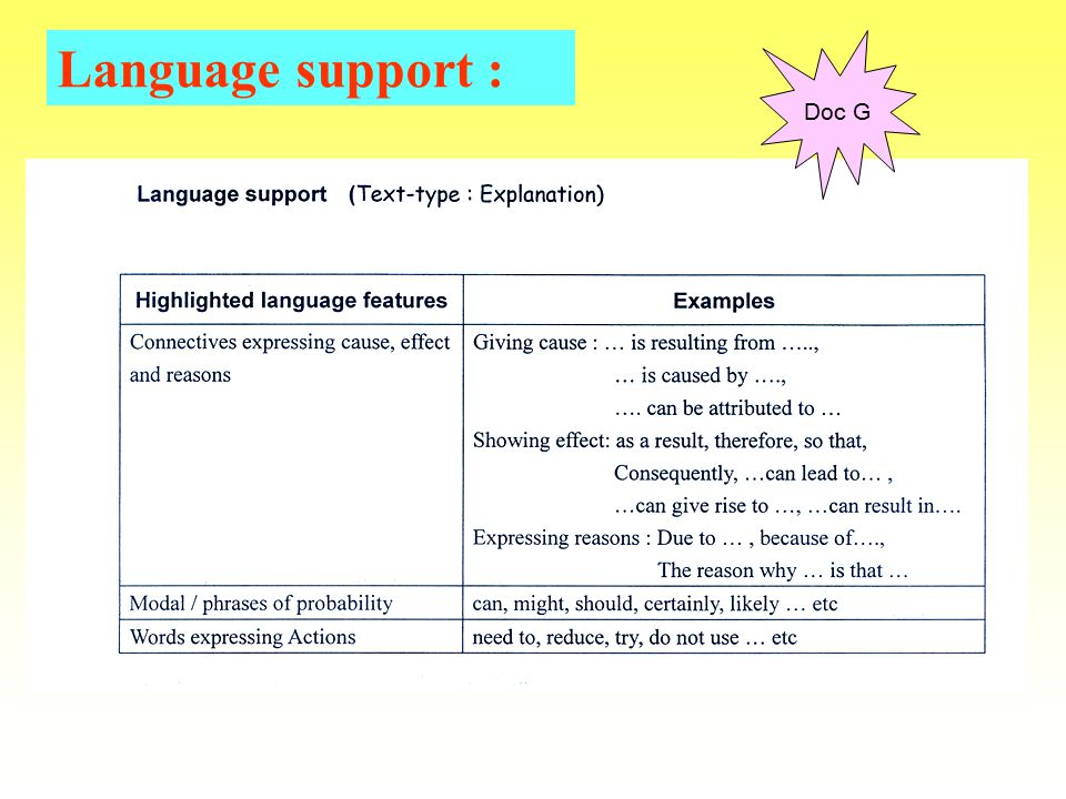 Language support : explicit help for students in understanding & using the language of their subjects Notice on board, oral explanation of terms & concepts, written model language patterns, vocabulary lists …