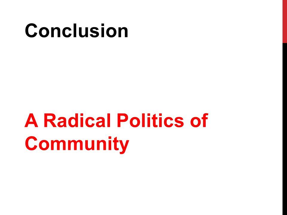 Conclusion A Radical Politics of Community