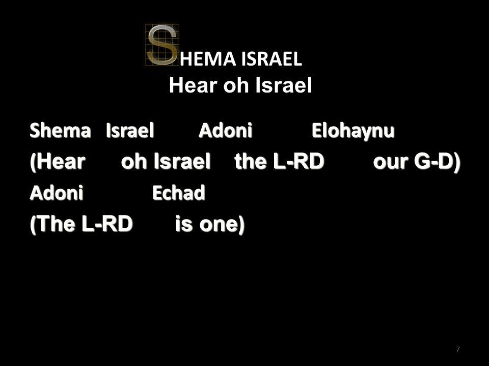 7 7777 HEMA ISRAEL Hear oh Israel Shema Israel Adoni Elohaynu ( Hear oh Israel the L-RD our G-D) Adoni Echad ( The L-RD is one )