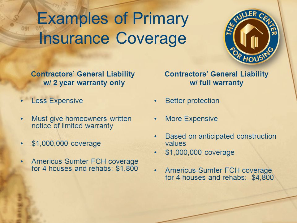 Examples of Primary Insurance Coverage Contractors' General Liability w/ 2 year warranty only Less Expensive Must give homeowners written notice of limited warranty $1,000,000 coverage Americus-Sumter FCH coverage for 4 houses and rehabs: $1,800 Contractors' General Liability w/ full warranty Better protection More Expensive Based on anticipated construction values $1,000,000 coverage Americus-Sumter FCH coverage for 4 houses and rehabs: $4,800