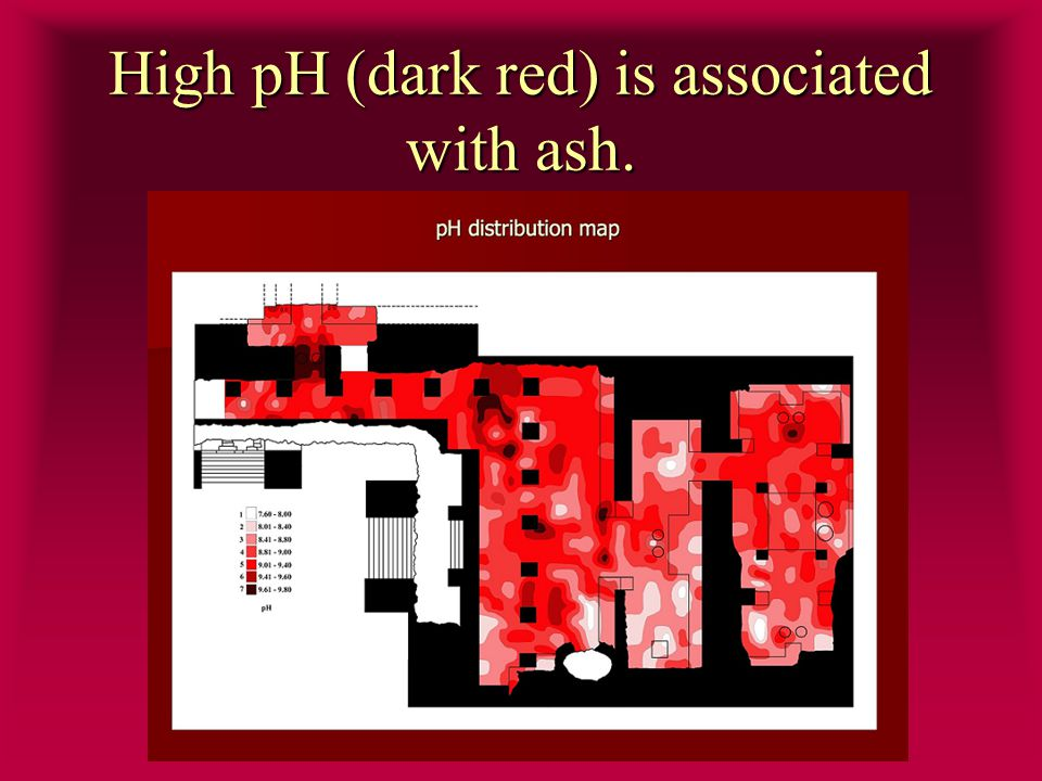 High pH (dark red) is associated with ash.