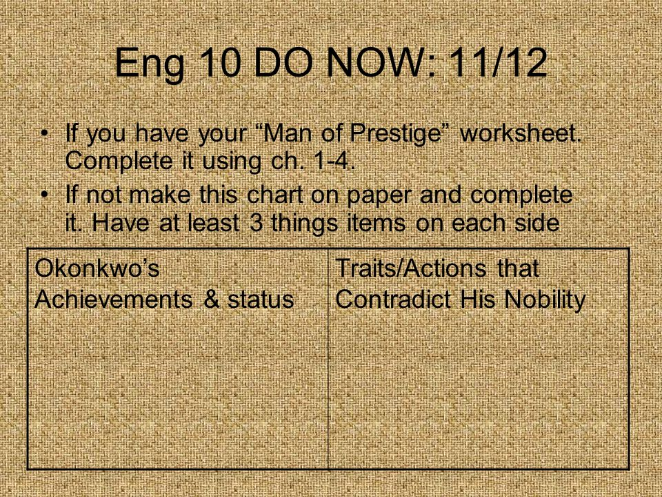 Eng 10 DO NOW: 11/12 If you have your Man of Prestige worksheet.