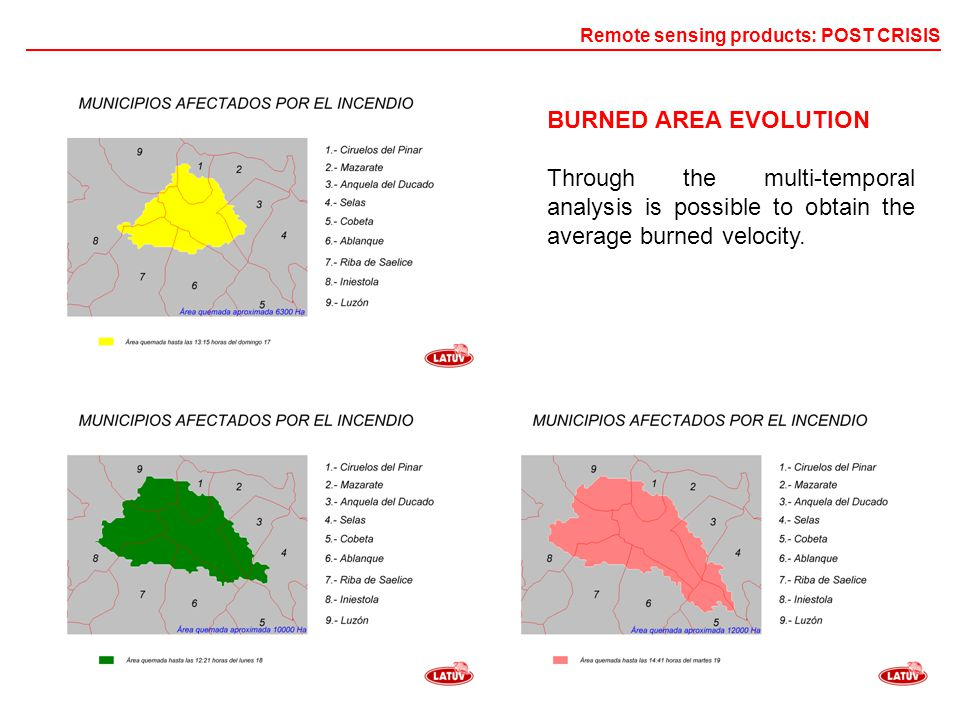 BURNED AREA EVOLUTION Through the multi-temporal analysis is possible to obtain the average burned velocity.