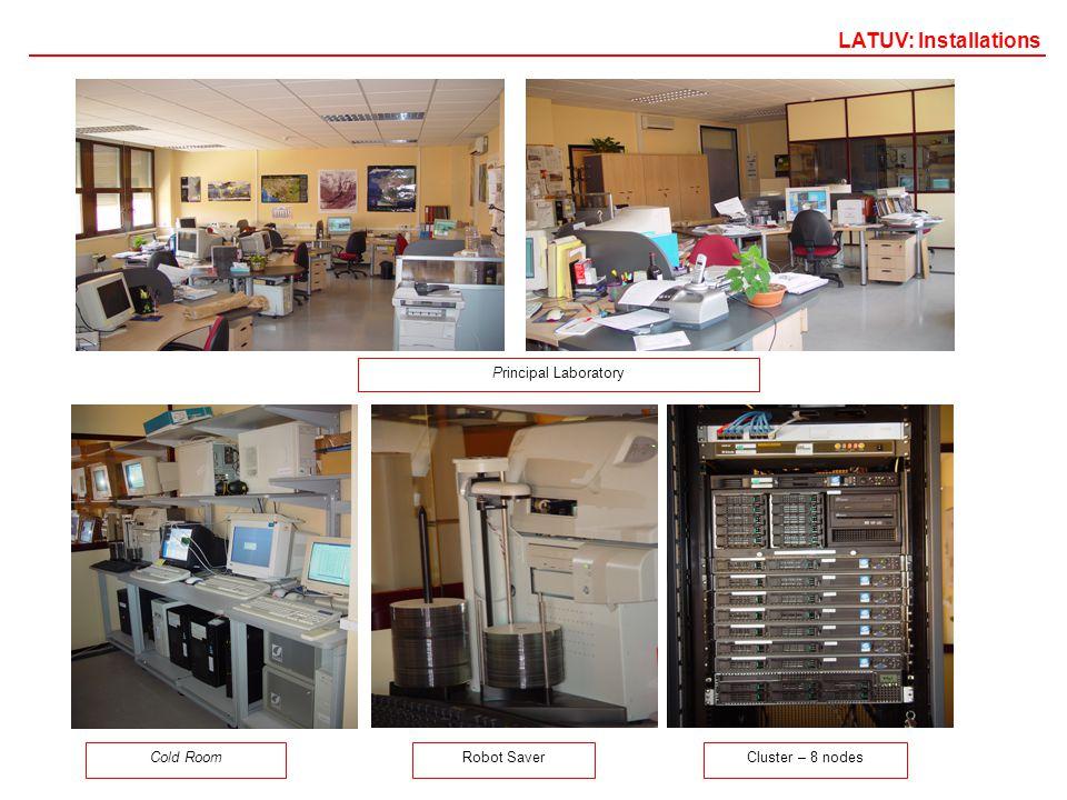 Cold Room Principal Laboratory Robot SaverCluster – 8 nodes LATUV: Installations