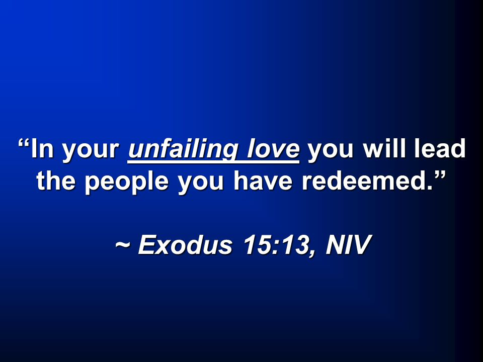In your unfailing love you will lead the people you have redeemed. ~ Exodus 15:13, NIV