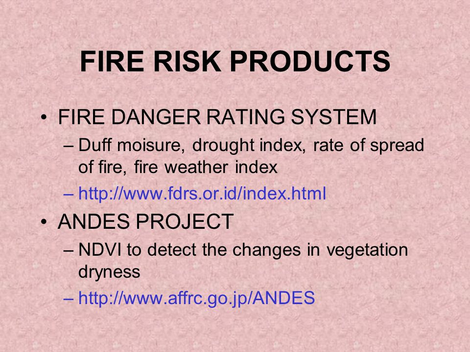 FIRE RISK PRODUCTS FIRE DANGER RATING SYSTEM –Duff moisure, drought index, rate of spread of fire, fire weather index –http://www.fdrs.or.id/index.html ANDES PROJECT –NDVI to detect the changes in vegetation dryness –http://www.affrc.go.jp/ANDES