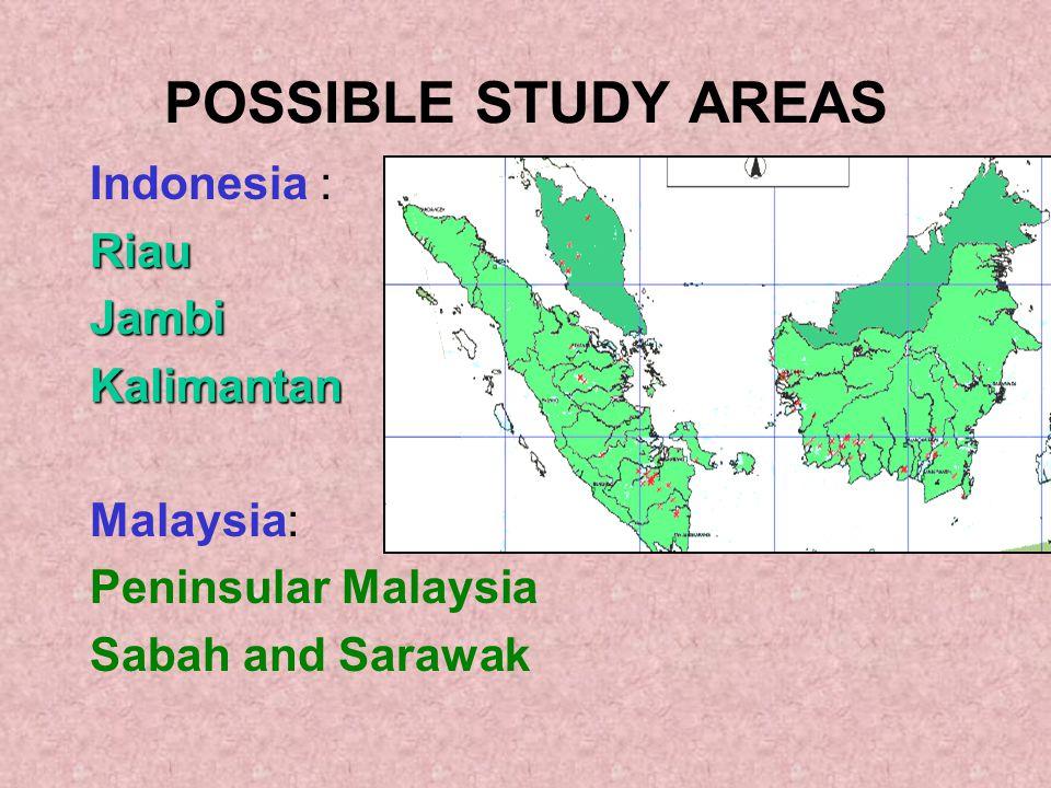 POSSIBLE STUDY AREAS Indonesia :RiauJambiKalimantan Malaysia: Peninsular Malaysia Sabah and Sarawak