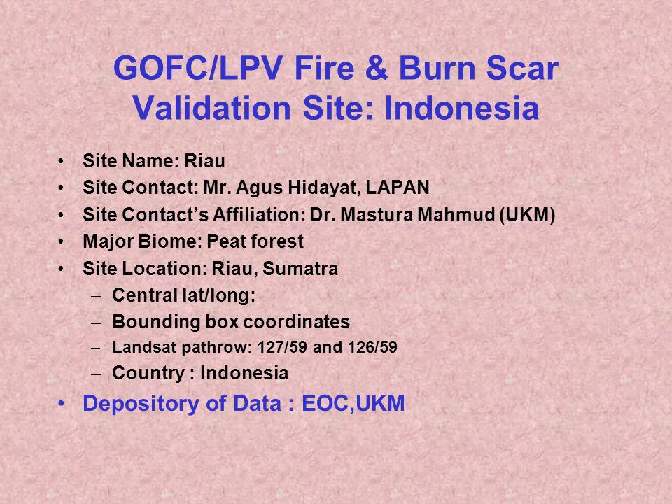 GOFC/LPV Fire & Burn Scar Validation Site: Indonesia Site Name: Riau Site Contact: Mr. Agus Hidayat, LAPAN Site Contact's Affiliation: Dr. Mastura Mah