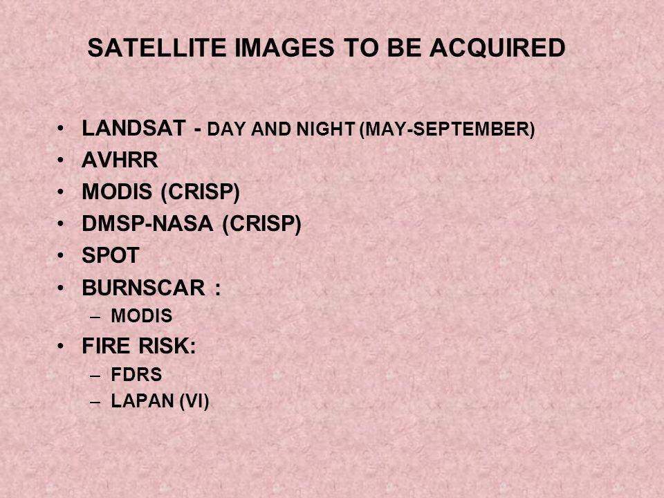 SATELLITE IMAGES TO BE ACQUIRED LANDSAT - DAY AND NIGHT (MAY-SEPTEMBER) AVHRR MODIS (CRISP) DMSP-NASA (CRISP) SPOT BURNSCAR : –MODIS FIRE RISK: –FDRS –LAPAN (VI)