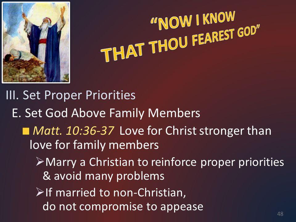 III. Set Proper Priorities E. Set God Above Family Members Matt.