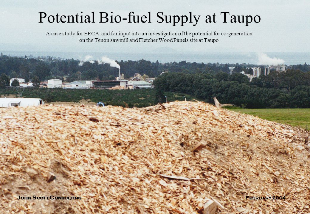 Potential Bio-fuel Supply at Taupo A case study for EECA, and for input into an investigation of the potential for co-generation on the Tenon sawmill and Fletcher Wood Panels site at Taupo J ohn S cott C onsulting February 2004