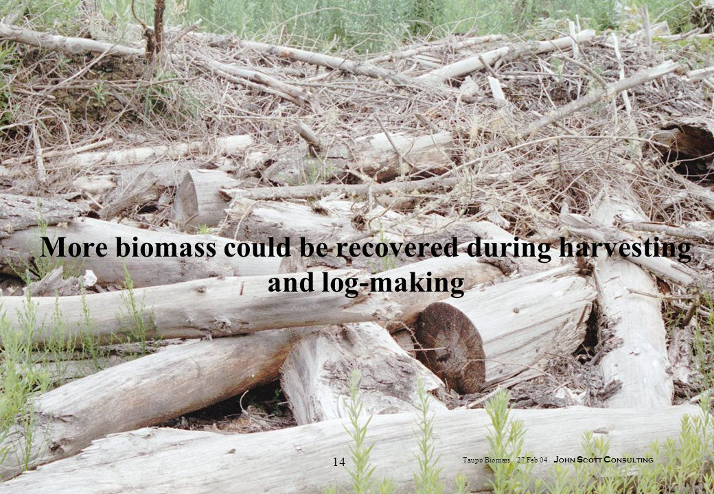 14 Taupo Biomass 27 Feb 04 J ohn S cott C onsulting More biomass could be recovered during harvesting and log-making