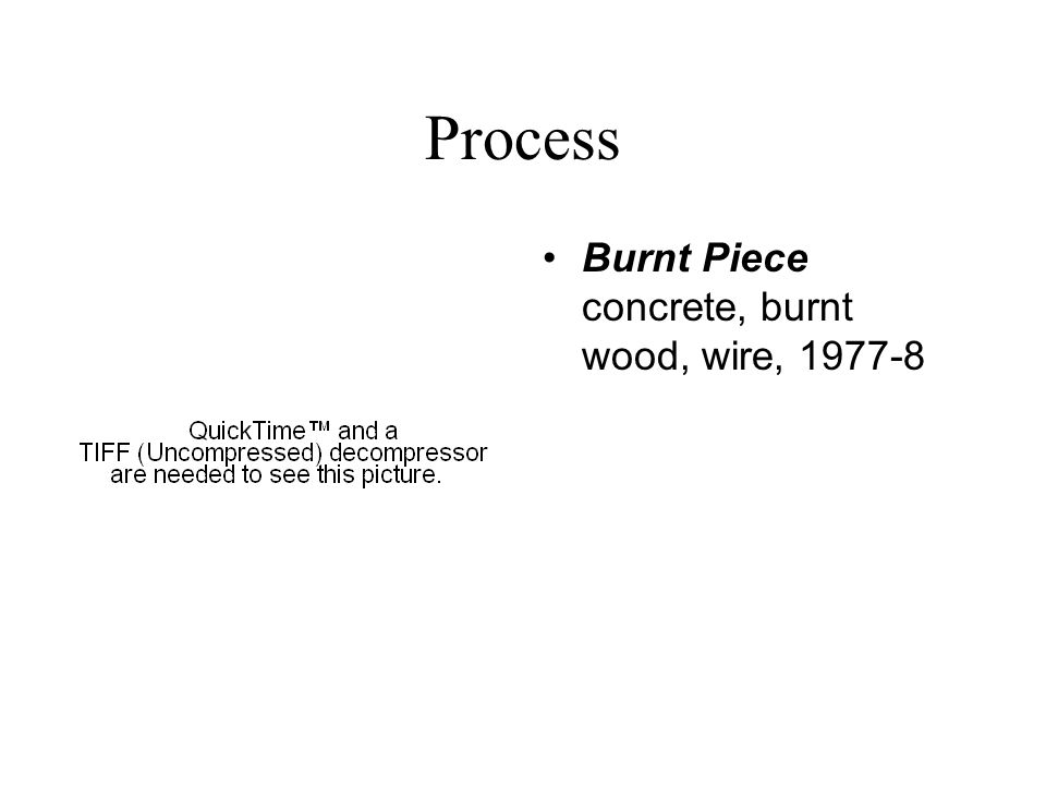 Process Burnt Piece concrete, burnt wood, wire, 1977-8